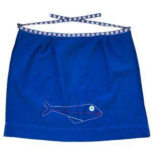 Vintage Blue Handmade Fish Flower Embroidery Apron